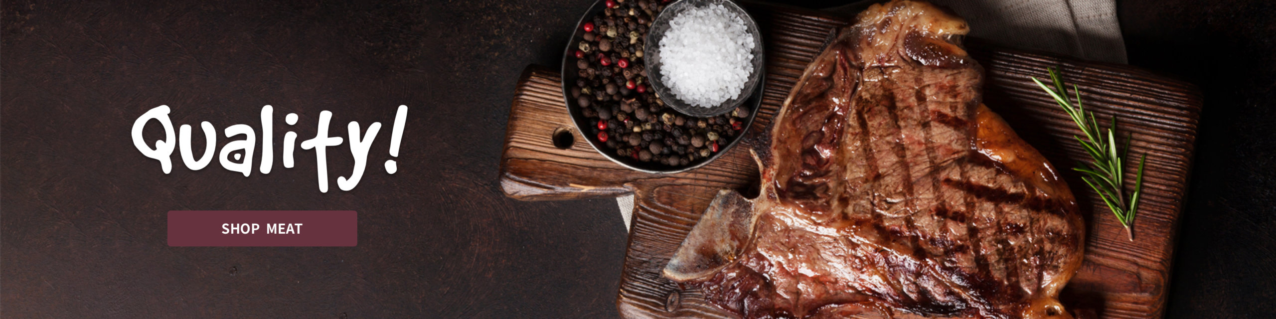 cooked meat, salt and peppercorns on a wooden cutting board.